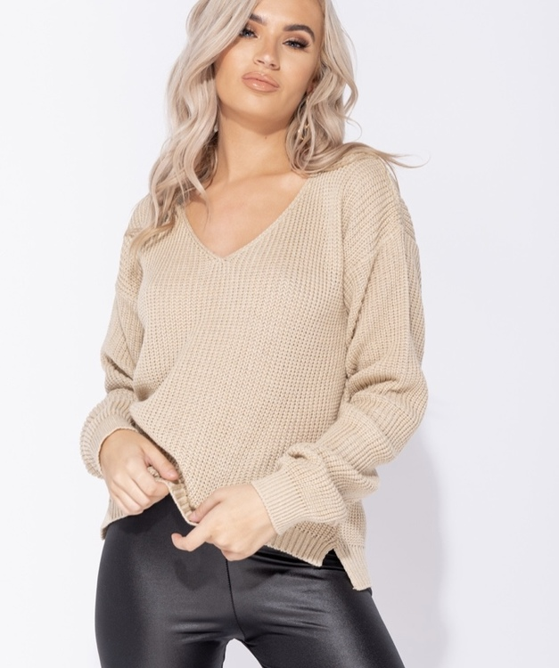 Parisa V neck beige jumper
