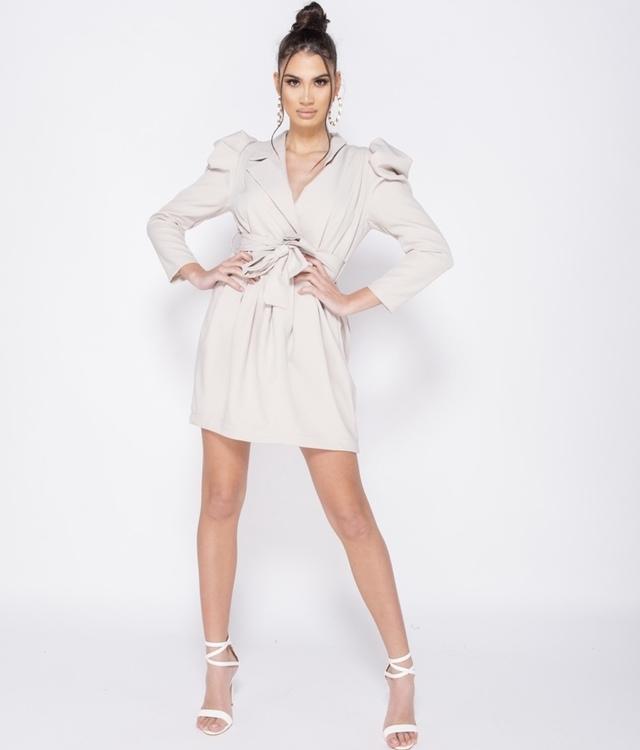 CHIC beige wrapover dress