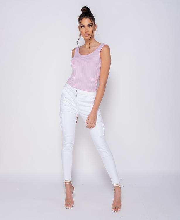 White utility pocket jeans/pants