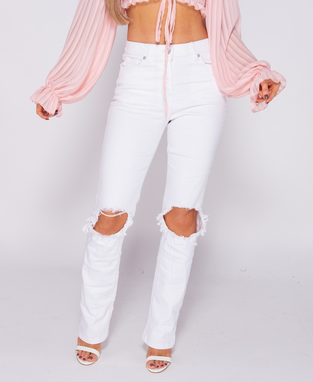Knee Rip Distressed boss white jeans