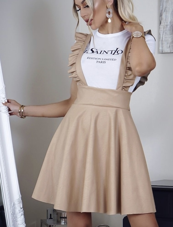 SWAY beige pu  leather frill dress! Tillbaka i lager!!!