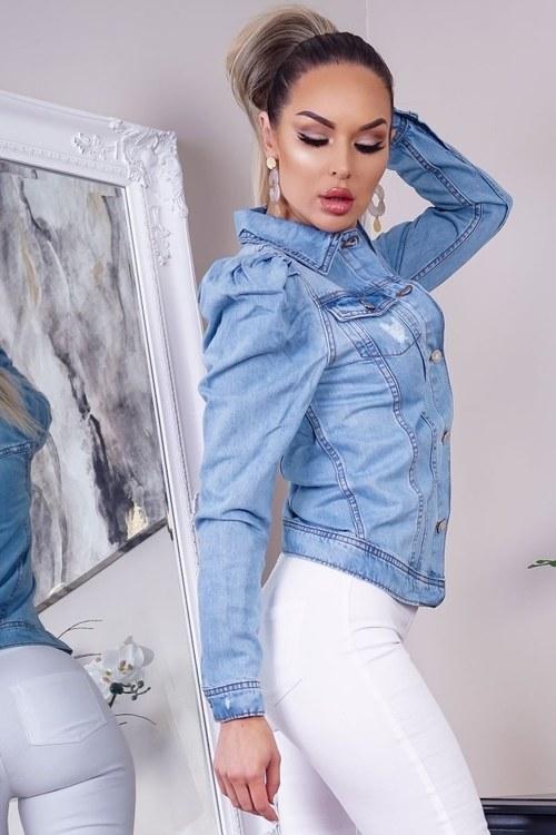 Jeansjacka med puffärm denim blå