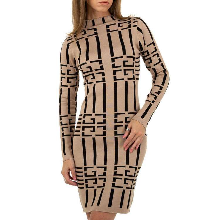Fashion designer knitted dress, beige