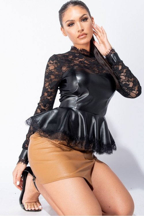 Leather & lace top