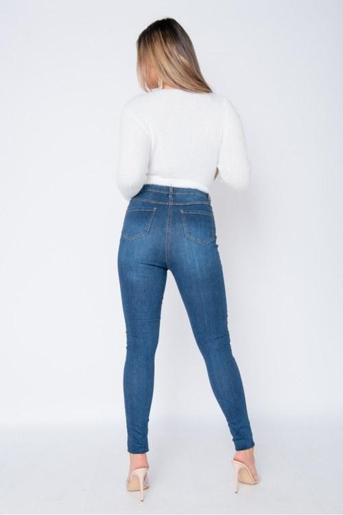 Teresa Mörkblå jeans med högre midja