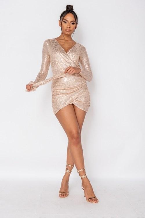 Crystal glam wrapover mini dress