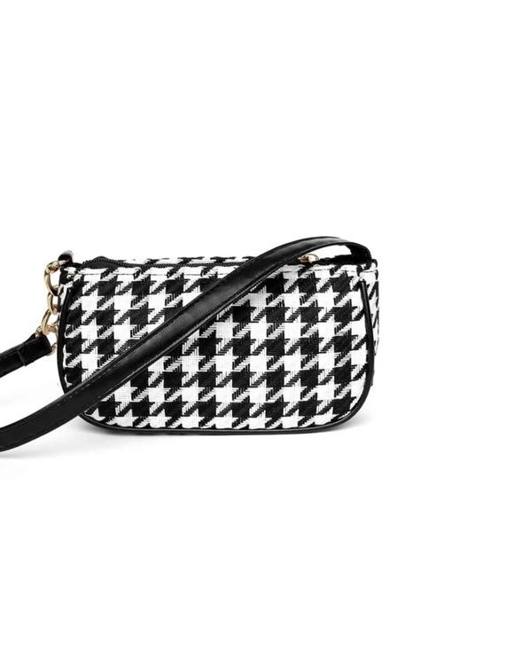 Houndstooth black & white mini bag