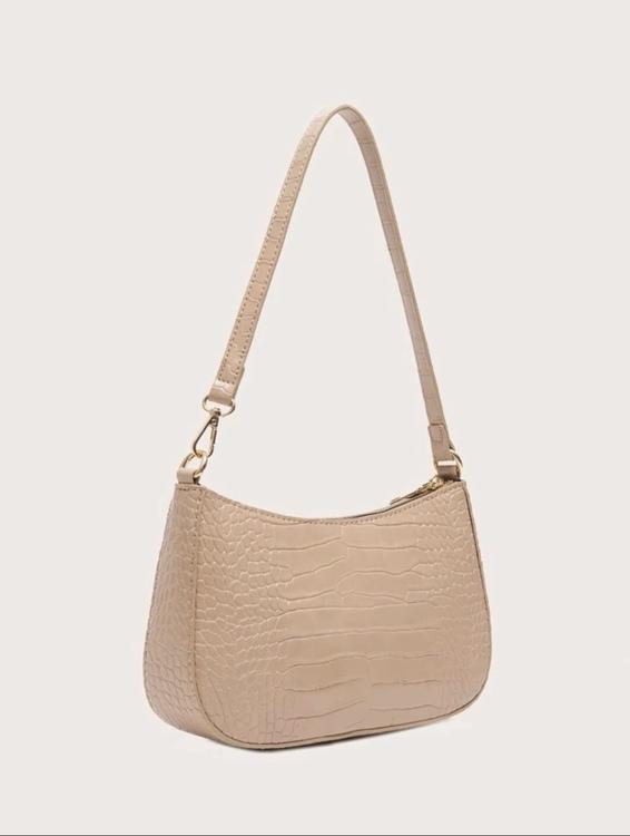 Beige croco handbag