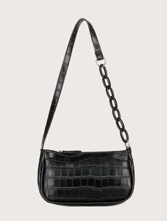 Mini croco chic bag with black chain