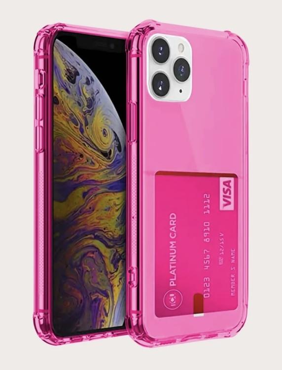Hot pink transparent Iphone plånboksfördral