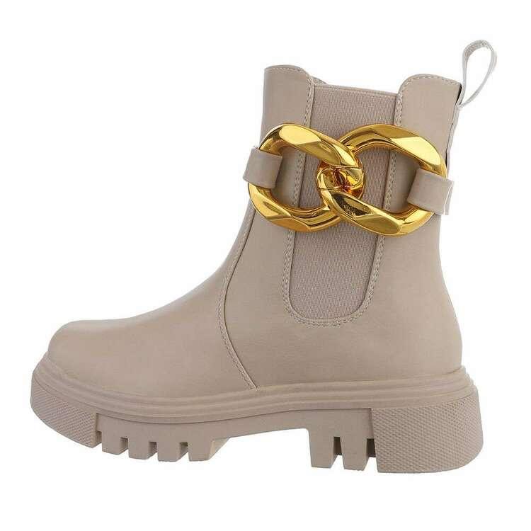 Beige short gold chain boot