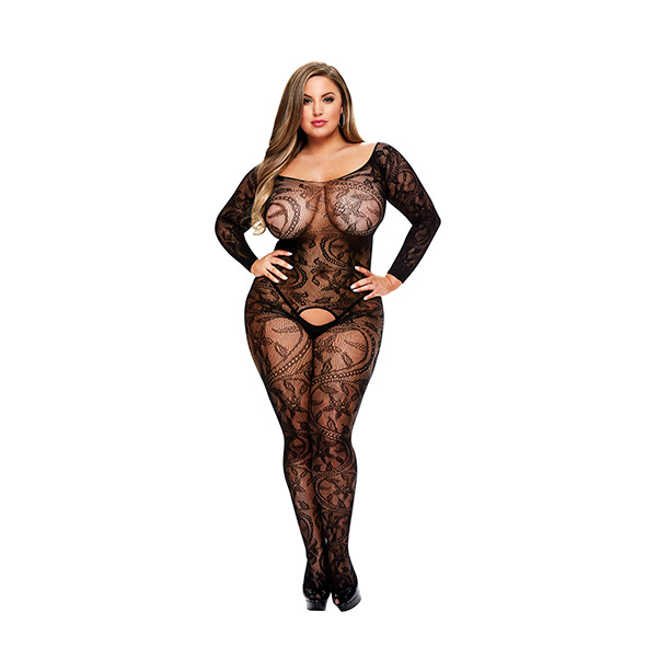 Longsleeve Crotchless Bodystocking Queen Size