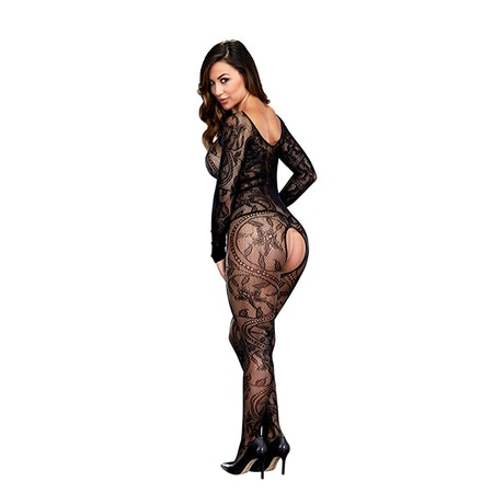 Longsleeve Crotchless Bodystocking One Size