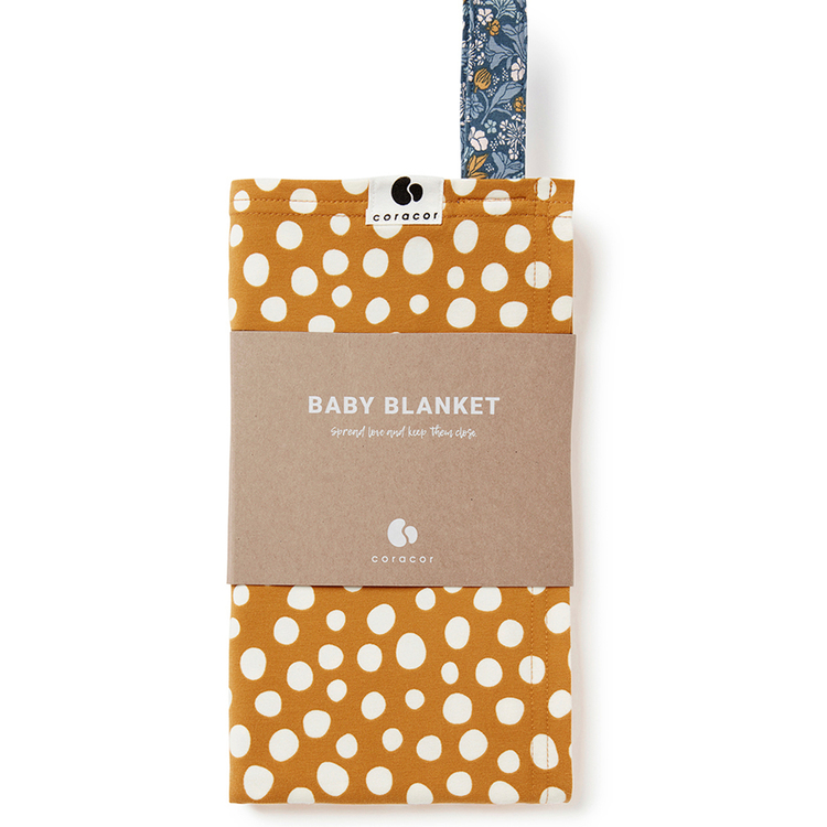 Coracor Abstract Dot Mustard Baby blanket