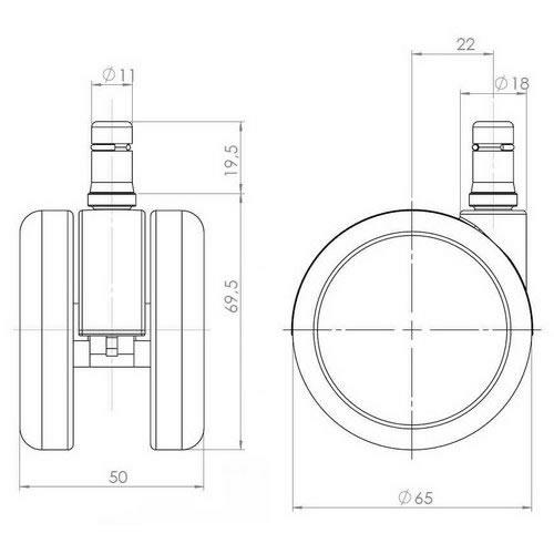 5-pack hjul i krom för hårda golv Herman Miller Aeron 11 mm / 65 mm