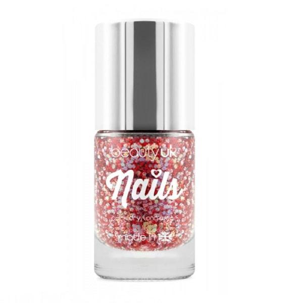 Beauty UK Glitter Nail Polish - Astrals Stars Red