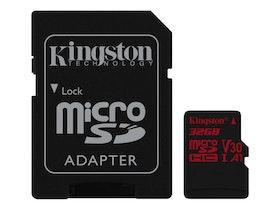 Kingston Canvas React microSDHC 32GB A1 / Video Class V30 / UHS-I U3 / Class10