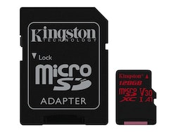 Kingston Canvas React microSDXC 128GB A1 / Video Class V30 / UHS-I U3 / Class10