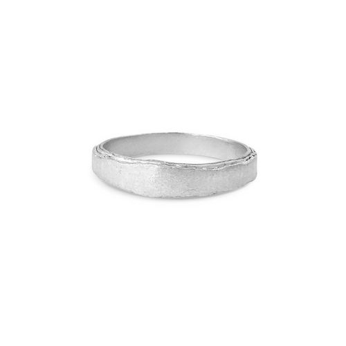 Misty Forest Rustic Mens Silver Ring