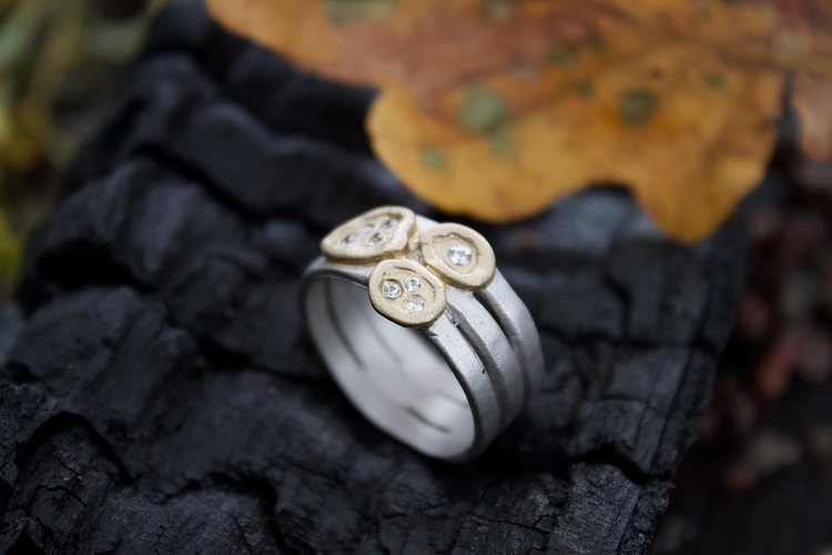 Misty Forest Clay Ring- Silver