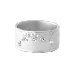 Misty Forest Moon Ring- Silver
