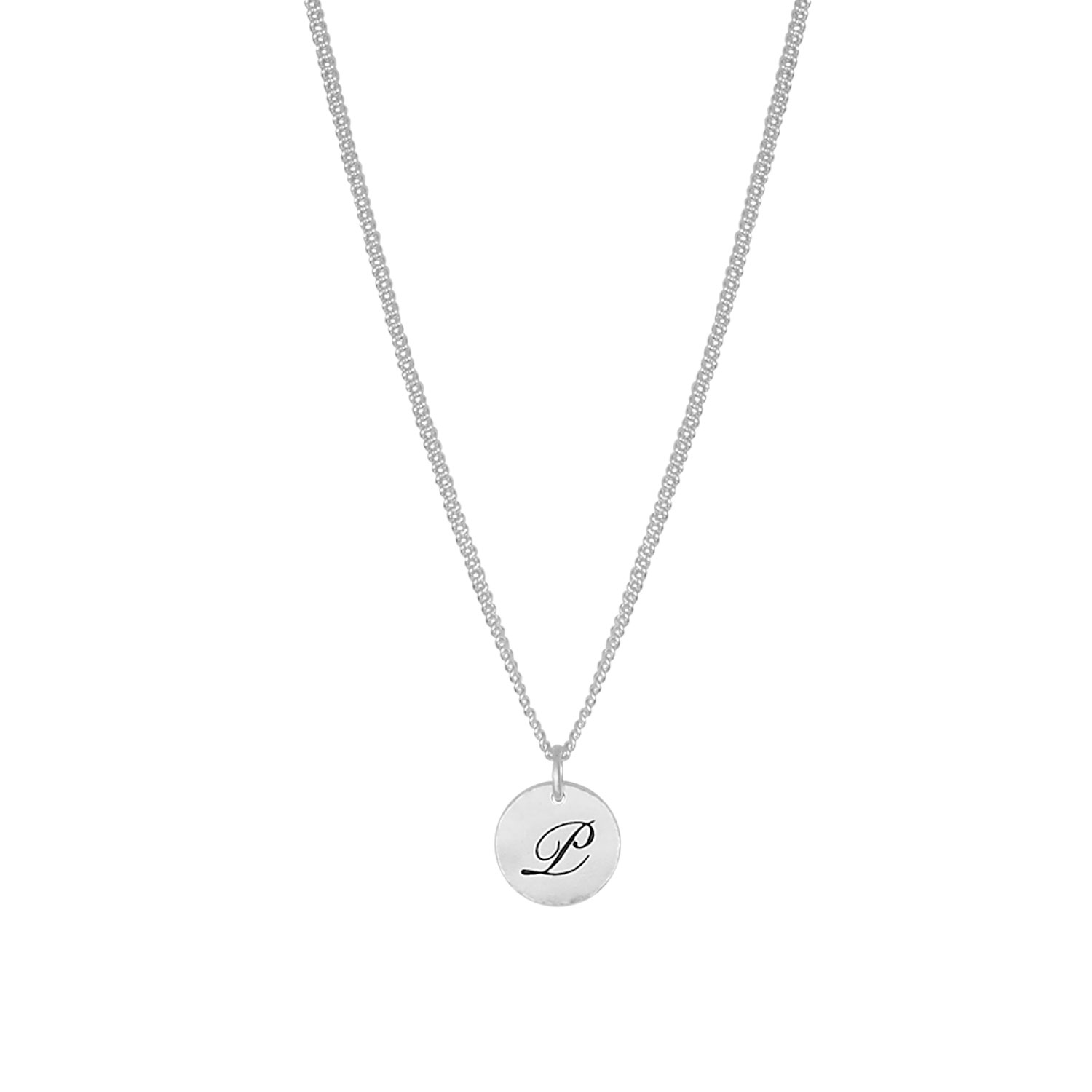 Letter Coin Necklace, Silver