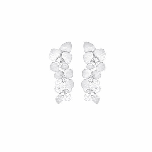Frosty Hydrangea Earrings, Silver