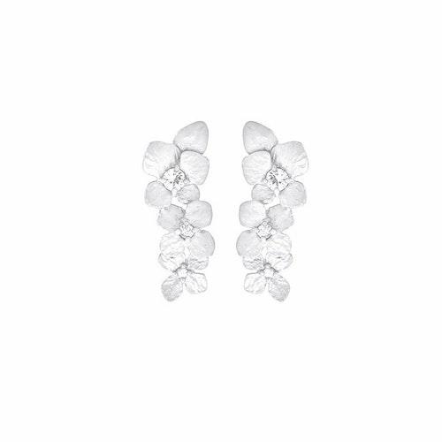 Frosty Hydrangea Earrings, Silver