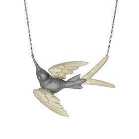 Fluttering Svallow Necklace, bronze/gold