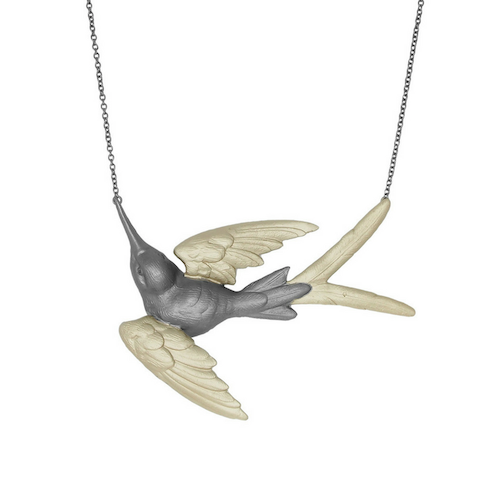 Fluttering Svallow Necklace, bronze / gold