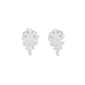 Tiny Oak Leaf Earrings, silver