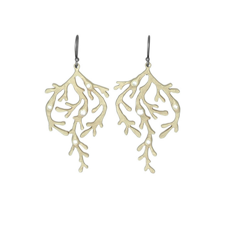 Twinkle Seaweed Earrings, bronze / gold