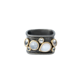 Moon Stone Rocket Ring, bronze