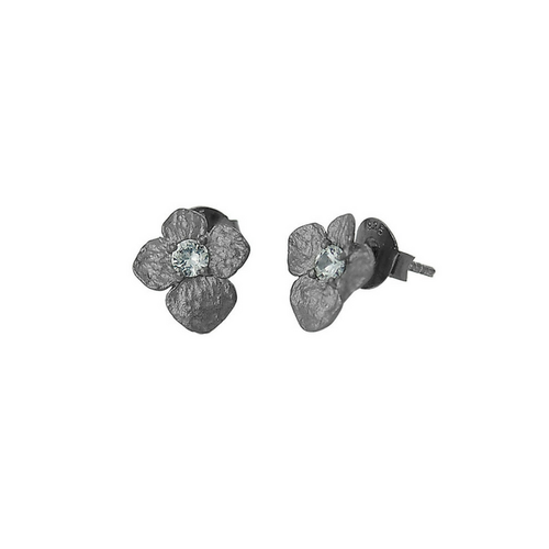 Earrings in bronze with white sapphire