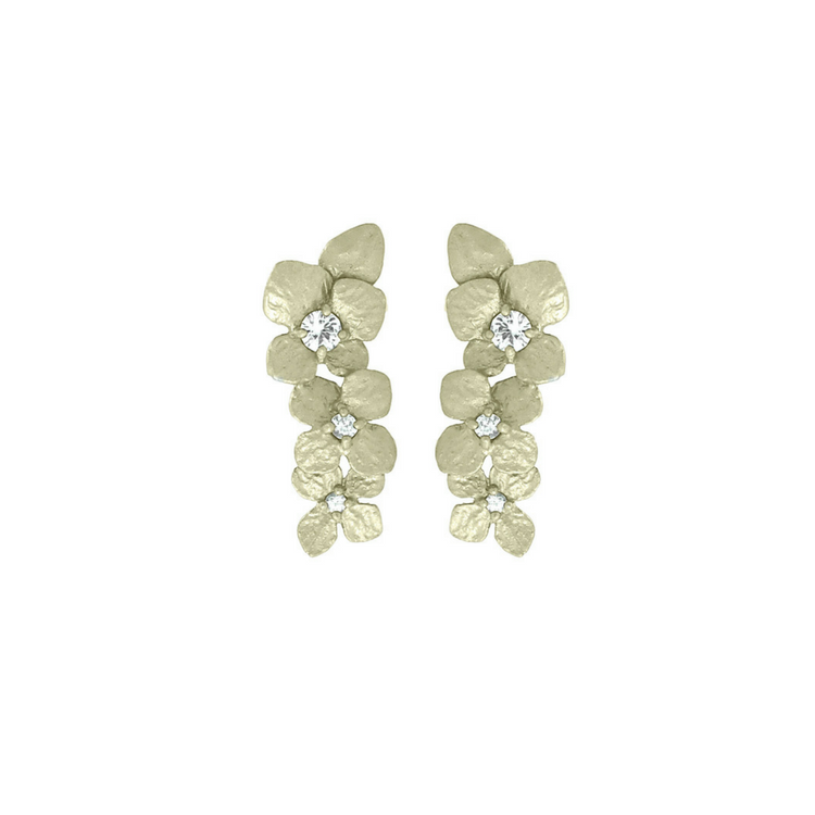 Golden floral silver earrings with white stone