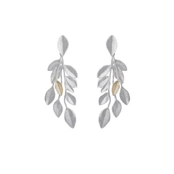 Olive Branch Earrings, silver
