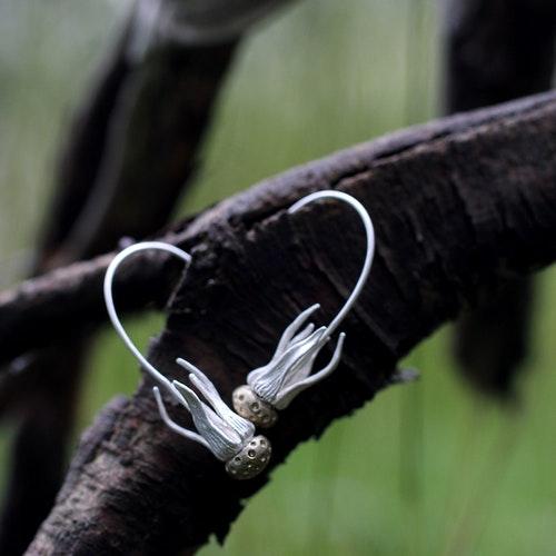 Dandelion Earrings, silver