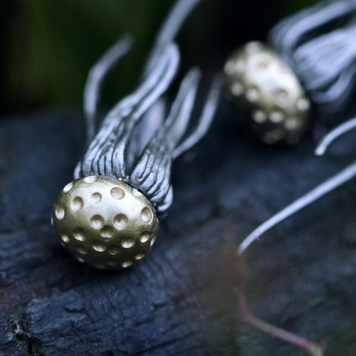 Dandelion Earrings, bronze