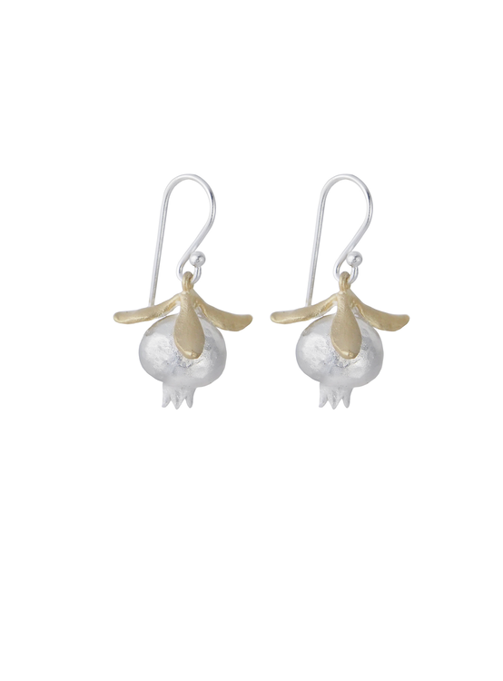 Pomegranate Earrings, silver