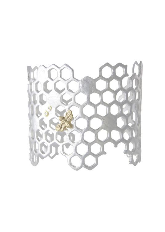 Honey Comb Bracelet, silver
