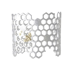 Honey Comb Armband, silver