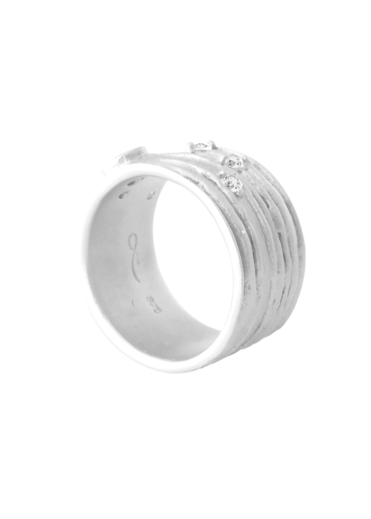 Misty Forest Planet Earth Ring, Silver