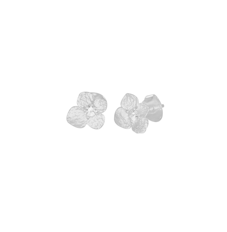 Hydrangea Petite Earrings, silver