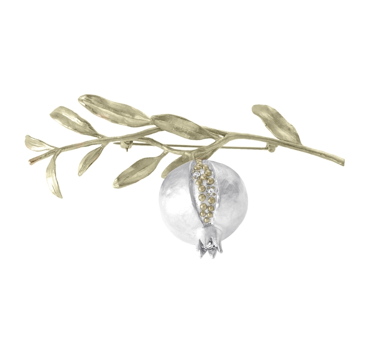 Pomegranate Tree Brosch, silver