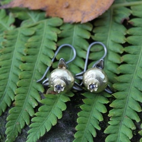Pomegranate Earrings, bronze