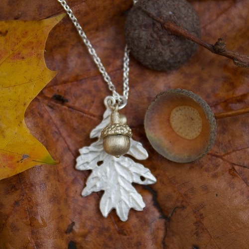 Tiny Mighty Oak Necklace, silver