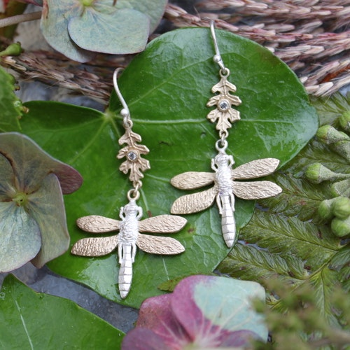 Libellule Earrings, silver