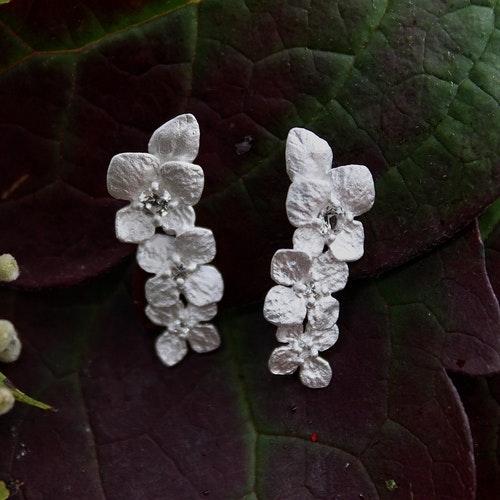 Frosty Hydrangea Örhängen, Silver