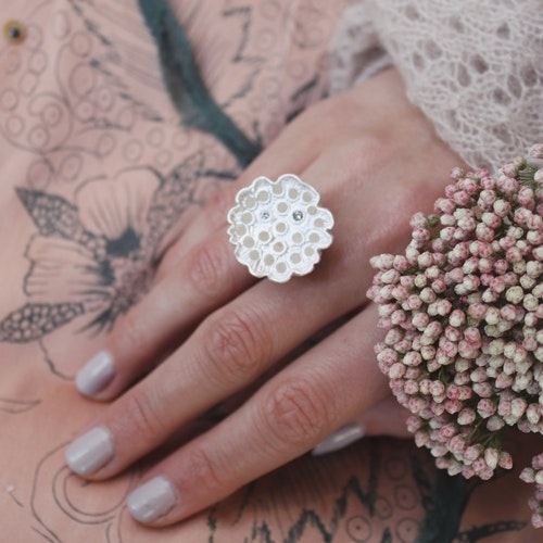 Lotus Ring, silver