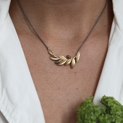 Olive Twig Necklace, bronze/gold